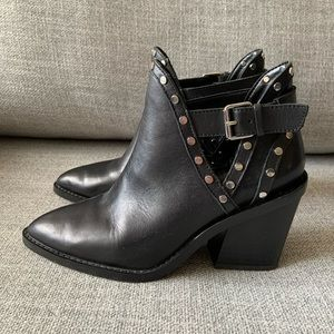 Aldo | Eraodia black leather studded ankle boots
